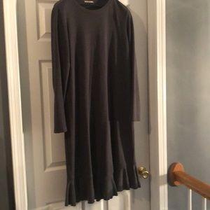 Zara Gray Ruffle Comfy Long Sleeve Cotton Dress